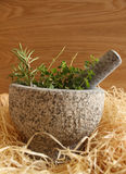 Mortar herbs Royalty Free Stock Photography