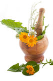 Mortar with herbs and marigolds Royalty Free Stock Images
