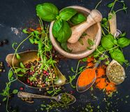 Mortar with herbs and spices stock photos