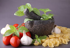 Mortar with ingredient Royalty Free Stock Images
