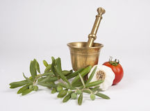 Mortar and ingredients Stock Photography