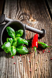 Mortar with intensive spices and herbs Royalty Free Stock Images