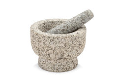 Mortar and pestle isolated Stock Photography