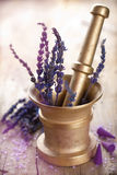 Mortar with lavender Stock Photography