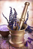 Mortar with lavender Royalty Free Stock Image