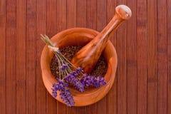 Mortar with lavender Stock Photos