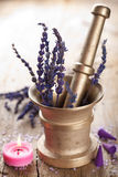 Mortar with lavender Stock Photos