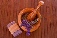 Mortar with lavender soap Stock Photography