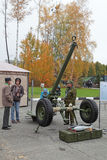 Mortar. NIZHNY TAGIL, RUSSIA - SEP 27, 2013: The international exhibition of armament, military equipment and ammunition RUSSIA ARMS EXPO (RAE-2013). 120-mm Stock Photography