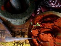 Mortar, paprika, chili Royalty Free Stock Photography