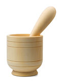 Mortar and pestle. Wooden mortar and pestle isolated on white Stock Photography