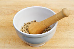 Mortar and pestle. White mortar and wooden pestle with pepper on background of wood royalty free stock image