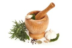 Mortar with a pestle Stock Image