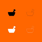 Mortar and pestle black and white set icon . Stock Photo