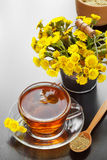 Mortar, pestle and bucket with coltsfoot flowers Stock Images