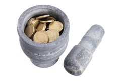 Mortar and Pestle with Coins Royalty Free Stock Photo