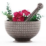 Mortar, pestle and flower isolated on white background. 3D illustration Royalty Free Stock Photos