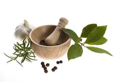 Mortar and pestle, with fresh-picked herbs royalty free stock photo