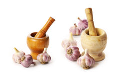 mortar and pestle with garlic Stock Photography