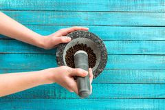 Mortar and pestle in hands royalty free stock photo