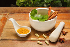 Mortar and pestle with herb and pills Stock Photography
