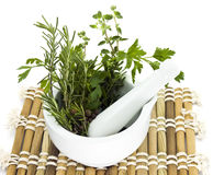 Mortar and pestle with herbs Stock Photography