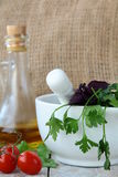 Mortar and pestle with herbs Stock Photos