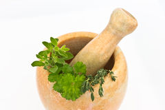 Mortar and pestle with herbs Royalty Free Stock Photos