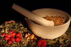 Mortar and pestle with herbs Stock Photo