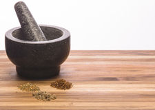Mortar and Pestle Homemade Spices Royalty Free Stock Photo