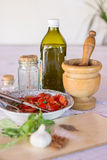 Mortar and pestle and ingredients Stock Photos