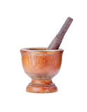 Mortar and pestle on isolated white background Stock Photography