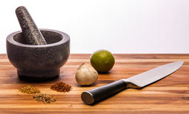 Mortar and Pestle and Large Knife Royalty Free Stock Photos