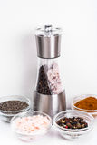 Mortar with pestle and mill for spices Royalty Free Stock Photo
