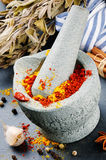 Mortar and pestle with mix of colorful spices Stock Photography