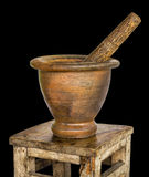 Mortar and pestle in an old bench. Royalty Free Stock Images