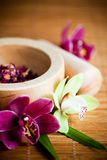 Mortar and pestle with orchids. Wooden mortar and pestle with herb and orchids Royalty Free Stock Images