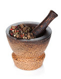 Mortar and pestle with peppercorn Royalty Free Stock Images