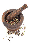 Mortar and pestle with peppercorn mix Royalty Free Stock Image