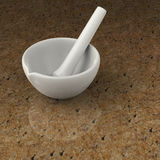 Mortar and pestle for pharmacy mixtures. Mortar and pestle on stone backgrouond Stock Photography