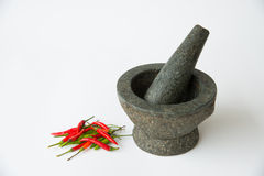 Mortar, Pestle and red chili Royalty Free Stock Image