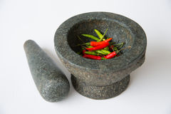 Mortar, Pestle and red chili Stock Image