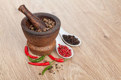 Mortar and pestle with red hot chili pepper and peppercorn Royalty Free Stock Image