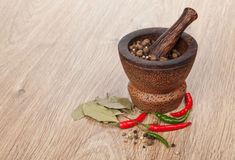 Mortar and pestle with red hot chili pepper and peppercorn Royalty Free Stock Images