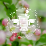 Mortar and pestle with ribbon in the centre of blurred background of leaves and pink flower. Royalty Free Stock Images