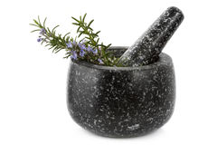 Mortar and Pestle with Rosemary Royalty Free Stock Photos