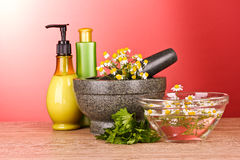 Mortar and pestle with soap and flowers on red Stock Photography