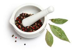 Mortar and pestle with spices Royalty Free Stock Image