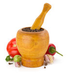 Mortar with pestle and spices on white Stock Photo