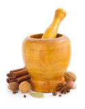 Mortar with pestle and spices on white Stock Photography